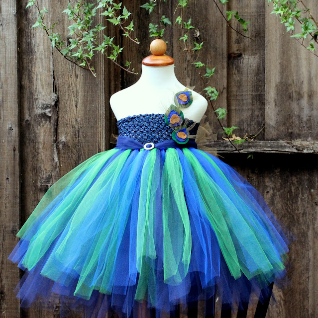 Peacock Inspired Tutu Dress, Blooms N Bugs on etsy