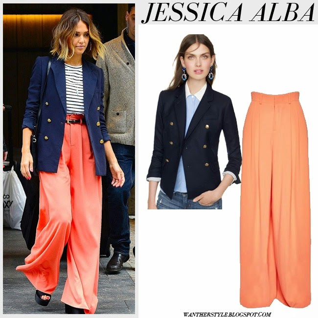 Jessica Alba in navy J. Crew blazer and orange coral trousers Alice and Olivia want her style april 14 spring summer fashion