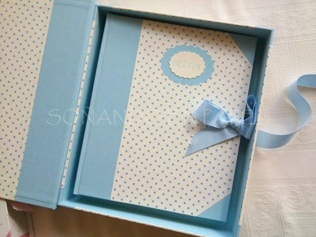 So ando en papel para dos reci n nacidos lbum con caja - Como hacer un album de fotos a mano para ninos ...