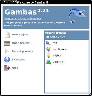 Screenshot Dialog welcome gambas 2