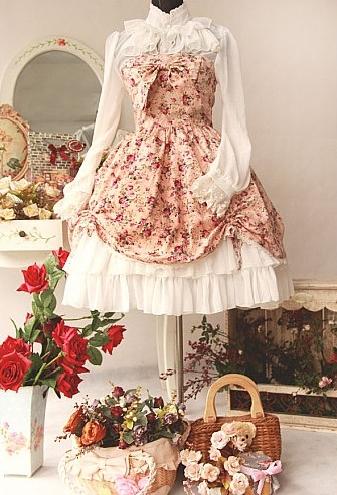Gorgeous Flower Printed Rococo Lolita Dress