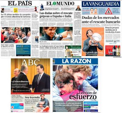 El séptimo Roland Garros de Nadal en las portadas de los principales diarios españoles