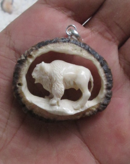 3-D Bull Carved Antler Pendant