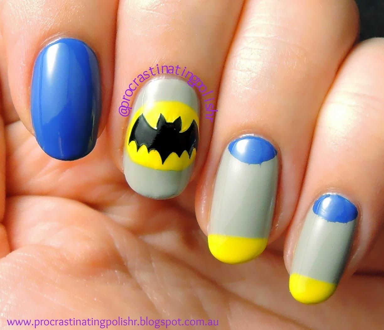 #52WPNMC 70's Batman inspired nail art