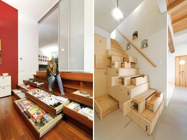 Escalera y almacenaje todo en uno espacios en madera for Estanteria bajo escalera