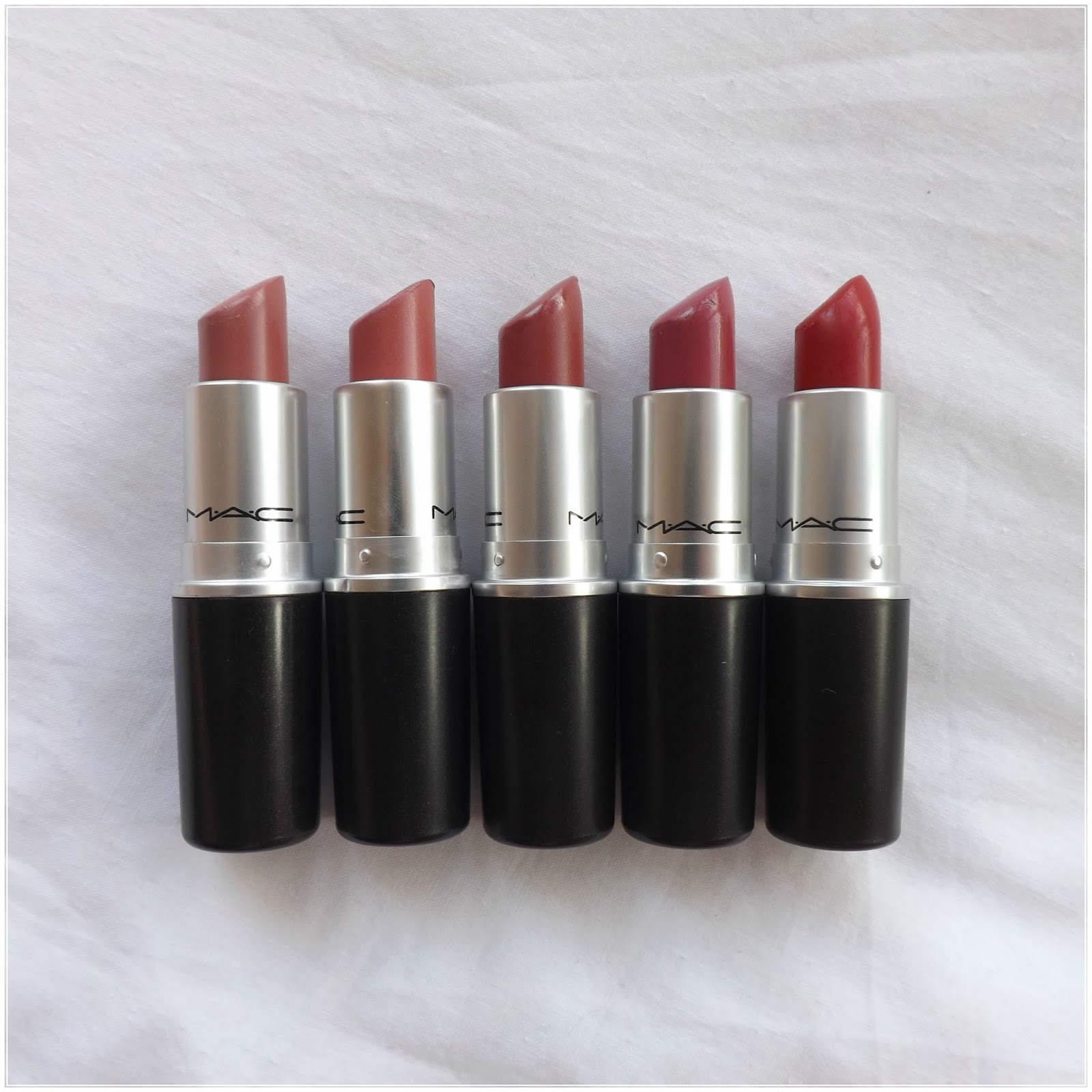 my mac lipstick collection and swatches taken by surprise