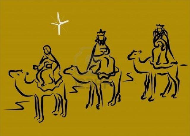 Fondo dibujado con los tres magos reyes