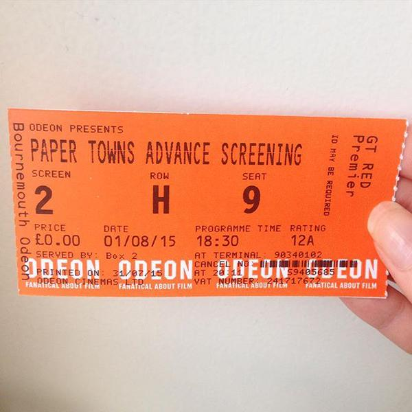 paper towns cinema ticket
