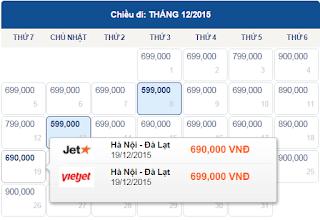 Vé máy bay Hà Nội đi Đà Lạt tháng 12