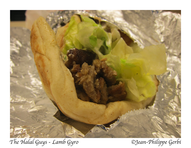 Image of Lamb Gyro at The Halal Guys Food cart in NYC, New York