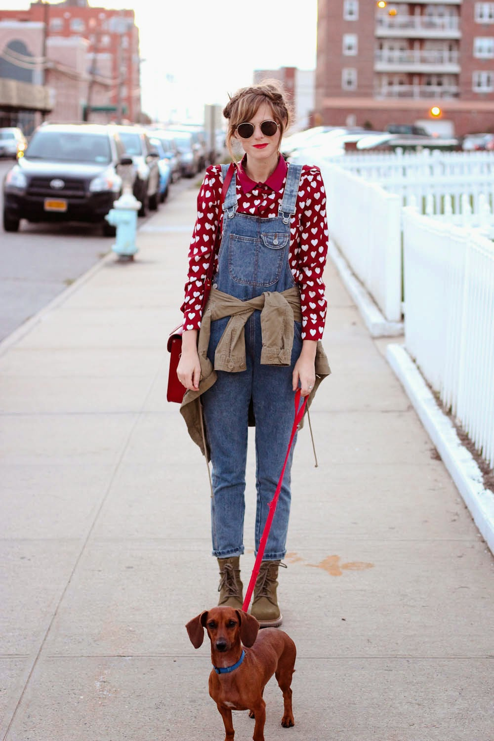 denim overalls, heart blouse, Cat footwear boots, long beach ny, nyc fashion blog, nyc vintage blog, vintage fashion blog
