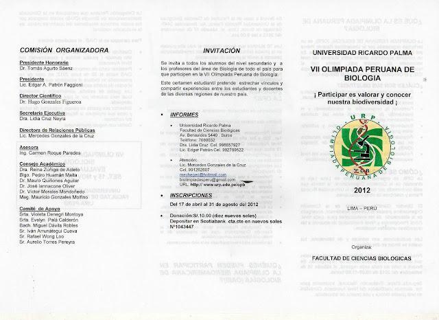 VII OLIMPIADA PERUANA DE BIOLOGIA  O.P.B. 2012