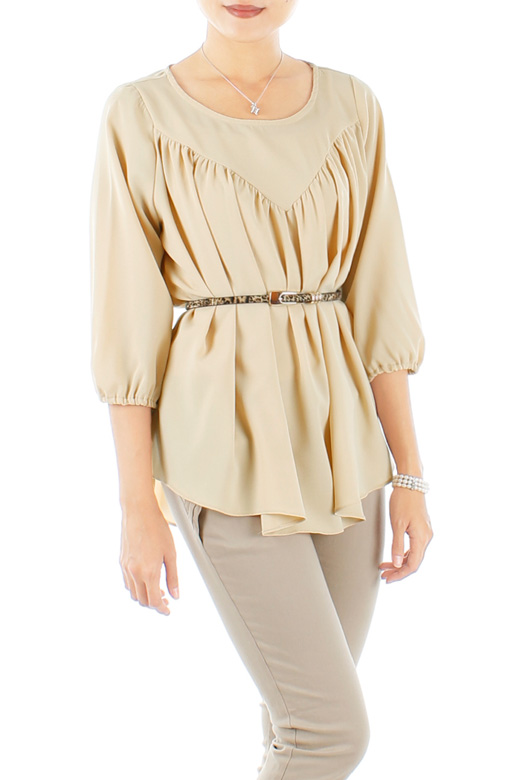 Cream Infinite Gathered Pleat Blouse with ¾ Sleeves