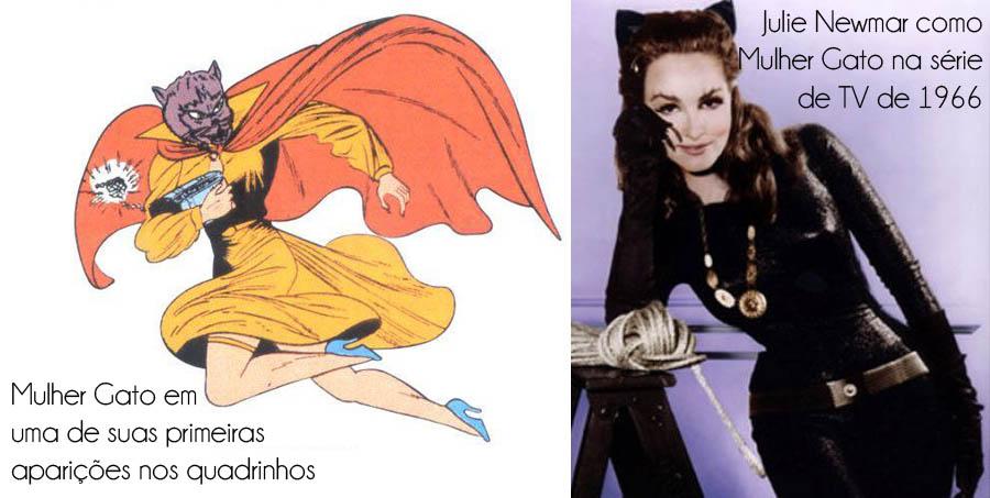 A elegante Mulher Gato_Selina Kyle_HQ_Fantasia mulher gato_Mulher gato nos quadrinhos_Primeira aparição da mulher gato_vestido da mulher-gato_Julie Newmar_serie de tv do batman