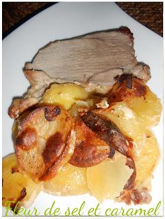 Palette de porc à la diable et ses pommes de terre boulangères