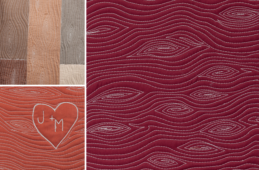 Free-motion quilting design of bark