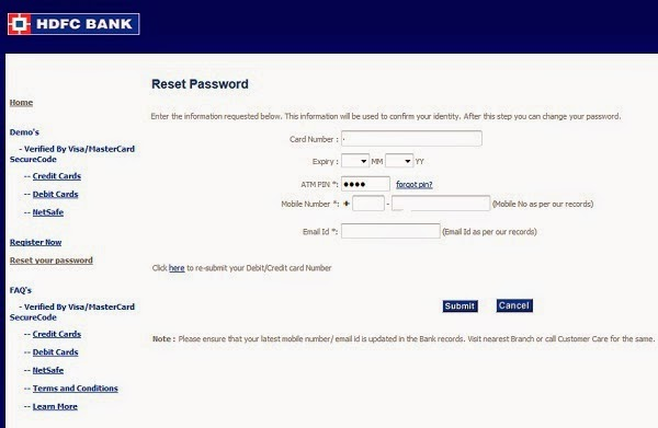 Hdfc forex card login