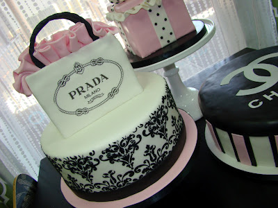 Sweet Cakes by Rebecca - Damask cake with Prada shopping bag