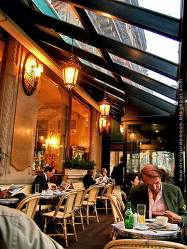 Les Deux Magots inside by window