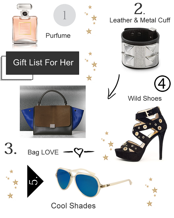Chanel COCO Mademoiselle Parfum, Rebecca Minkoff Studded Pavé Leather Cuff, CÉLINE Trapeze Multicolor Pony Bag, MICHAEL Michael Kors Delilah Grommet Platform Sandal, Ray Ban CATS 5000 with Crystal Blue Mirror Lenses
