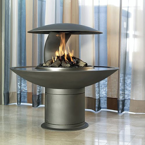 Best fireplace design ideas: Round free standing wood/gas ...