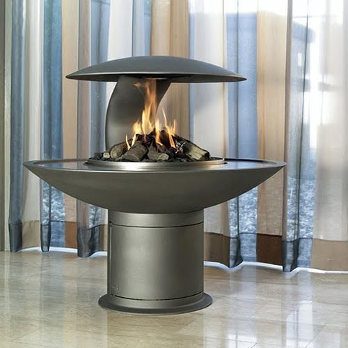 Best fireplace design ideas: Round free standing wood/gas ...