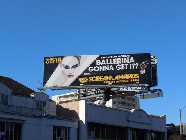 Black Swan Scream Awards billboard