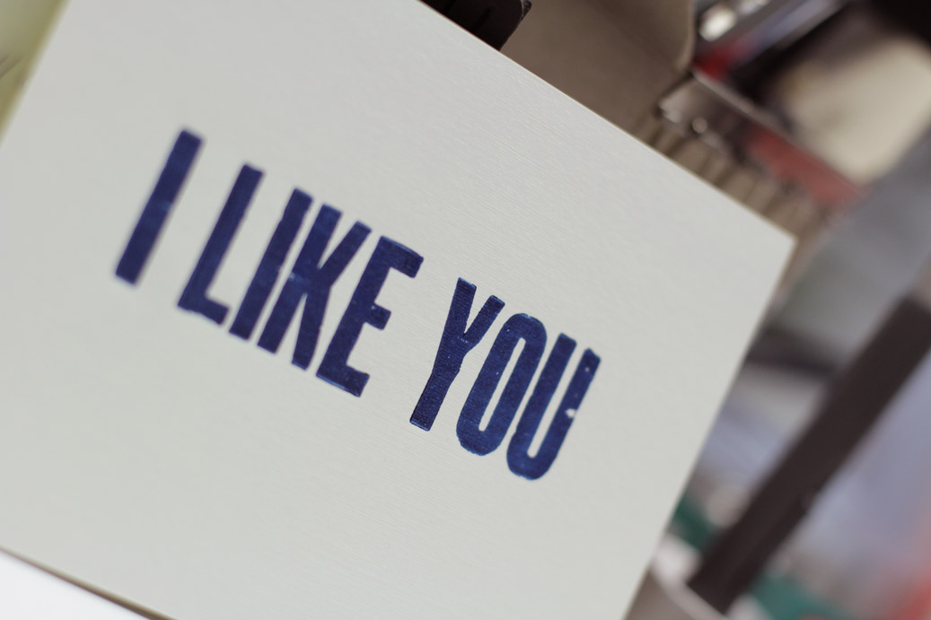 oneafternine - 'I like you/don't be a dick' letterpress Leterrpress