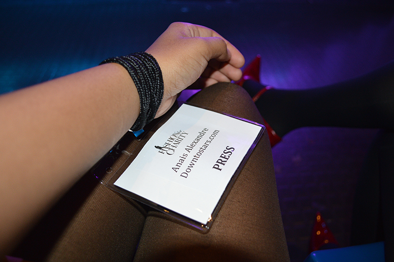 Fashion Blogger Anais Alexandre of Down to Stars with her press pass for the Fashion for Charity Event.