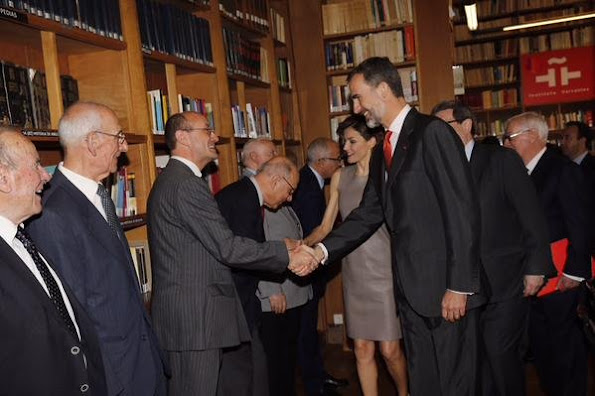 King Felipe VI of Spain and Queen Letizia of Spain attends a meeting at the Library of the Cervantes institute