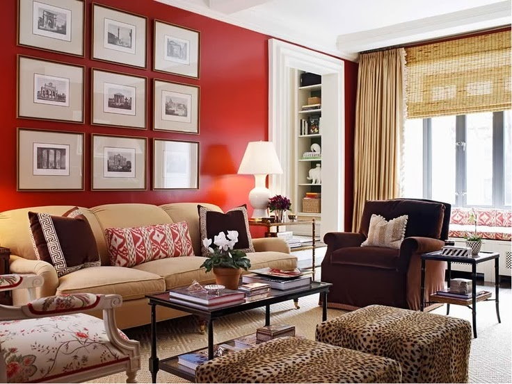 Red And Tan Living Room With Walls