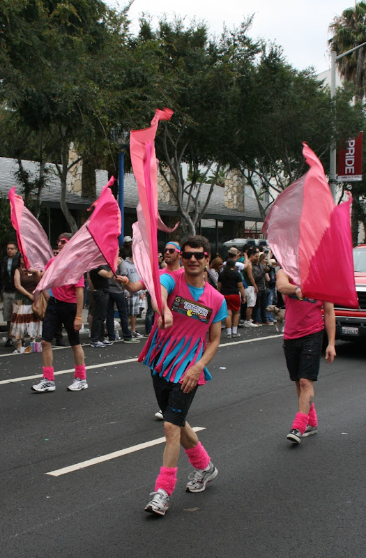 Flag twirling WEHO Pride Gay Mens Chorus