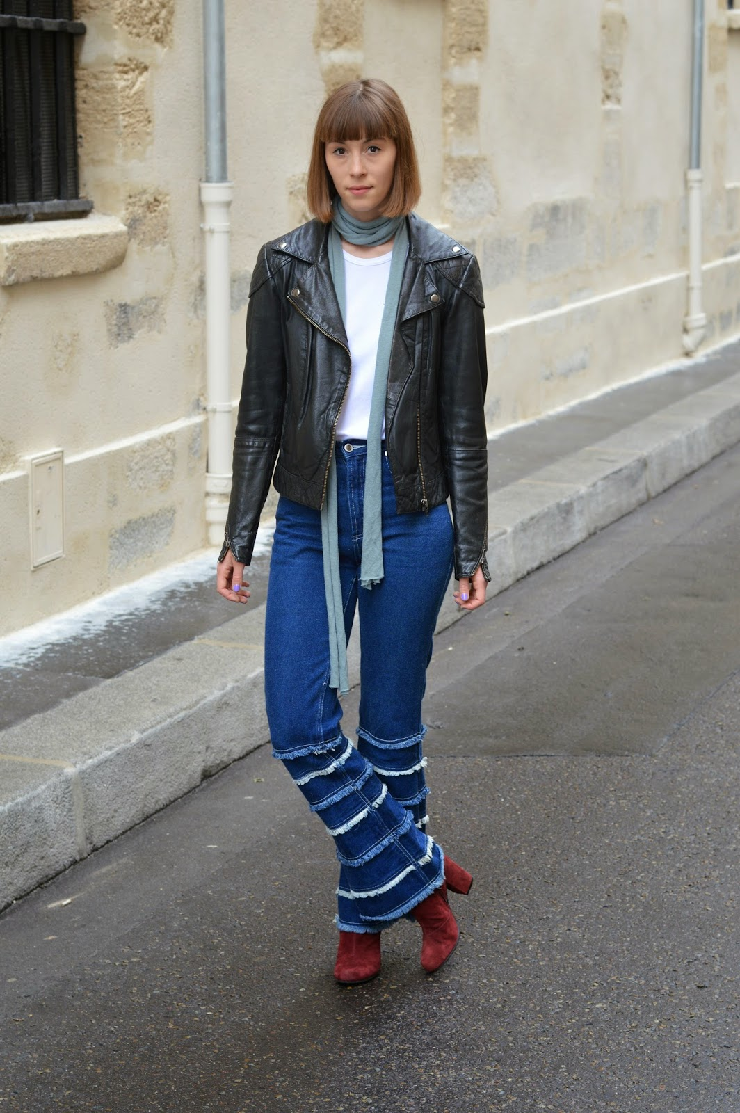 Fringed denim flares, 70s trend, skinny scarf