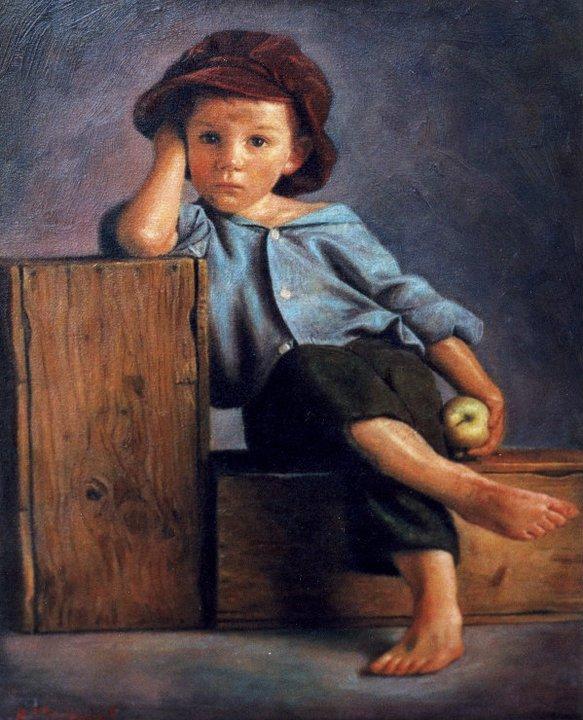 Children in art   Odysseas Oikonomou 1967   Albanian-Born Greek Portrait painter