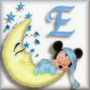 Alfabeto de Mickey Bebé durmiendo en la luna E.