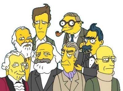 Filósofos - Los Simpson - Kant, Sócrates, Marx, Barthes, Deleuze, Wittgenstein, Sartre, Foucault