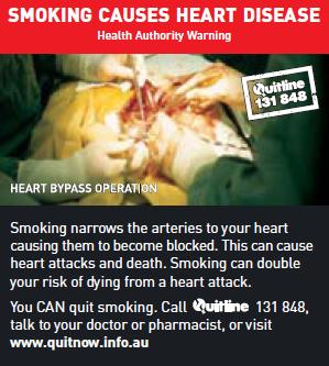 Todas as imagens chocantes nos maços de tabaco na Austrália