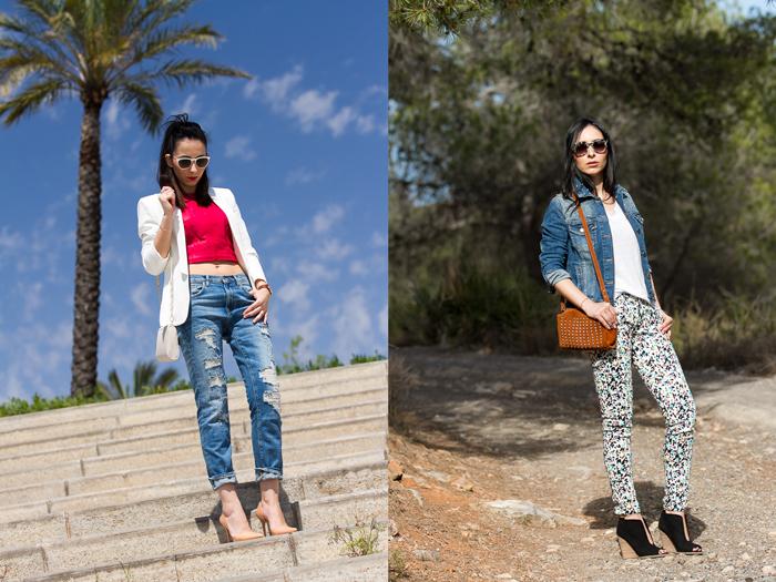 Outfit con pantalones de estampado geométrico y chaqueta denim de Zara