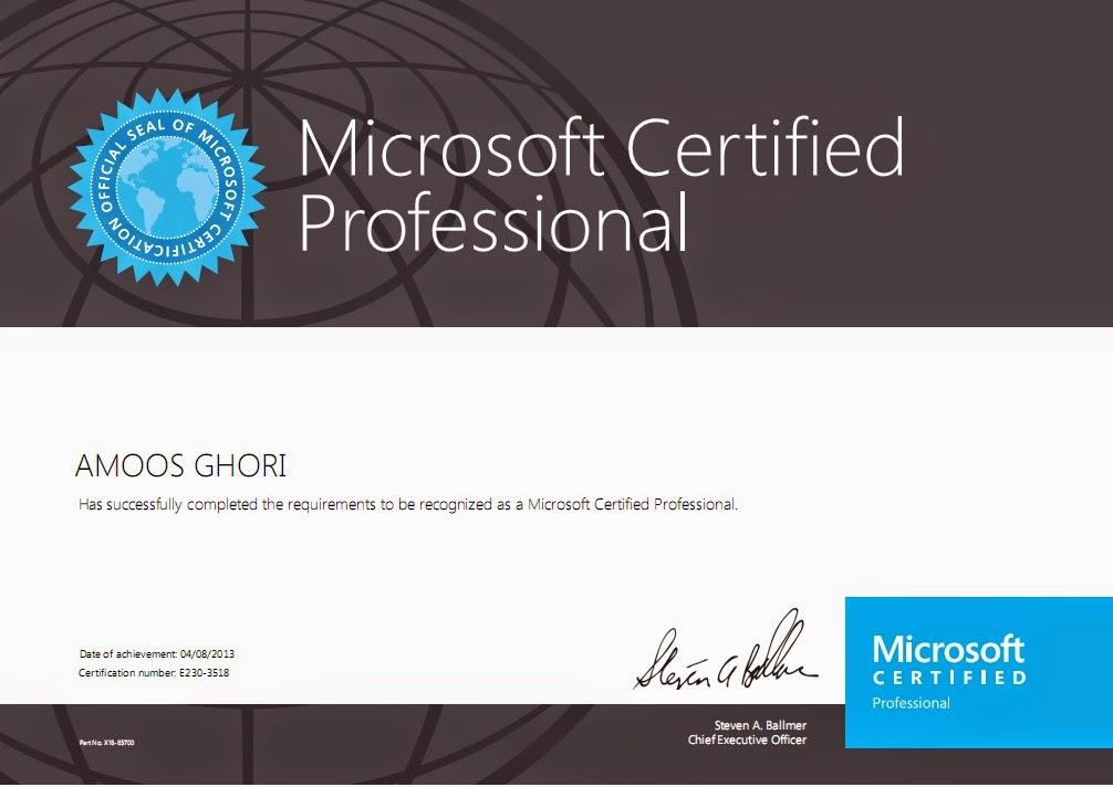 New Microsoft Certification Specialist Amoos John
