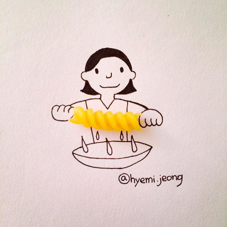 Adorables ilustraciones hechas con objetos cotidianos por Hyemi Jeong