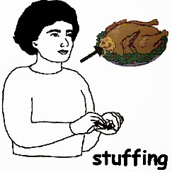 asl sign for stuffing, how to sign stuffing, thanksgiving signs, holiday signs, sign for stuffing