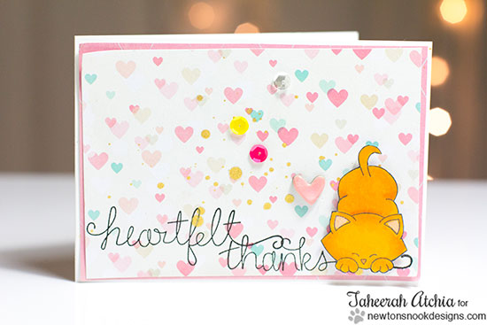 Heartfelt Thanks cat card by Taheerah Atchia for Newton's Nook Designs | Simply Sentimental Stamp Set