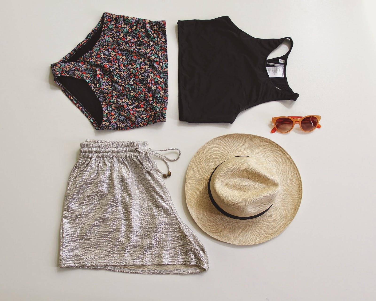 High waisted swimwear, shorts, hat, sunnies