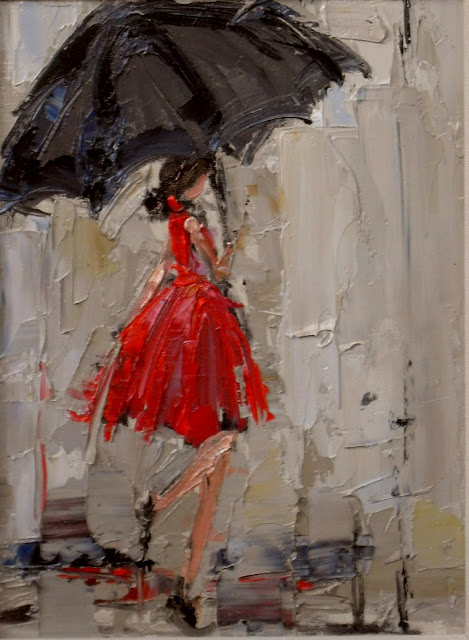 Dancing in the Rain 2, umbrella girl with red dress, kathryn morris trotter, www.kathryntrotterart.com, umbrella art, fashion paintings