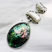 Liontin Batu Permata Rainbow Black Pearl - SP684
