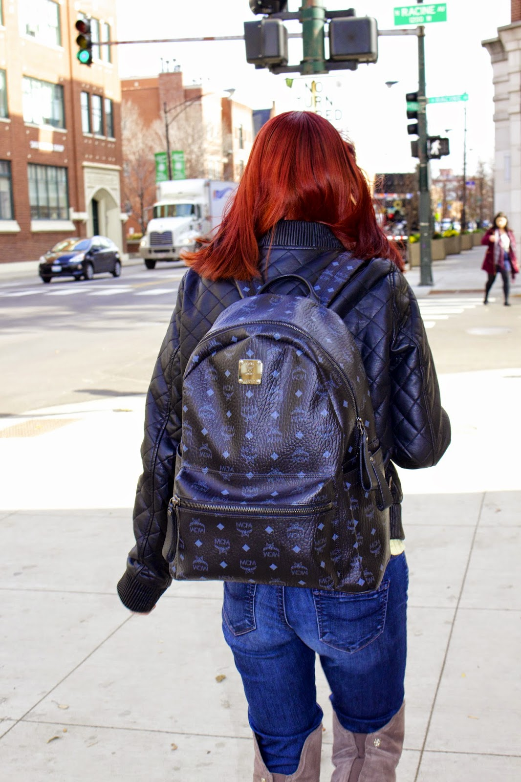 mcm backpack, Fashion Faves, paige jeans, over the knee boots, vince camuto baldwin, topshop cat shirt, quilted leather jacket, hicustom