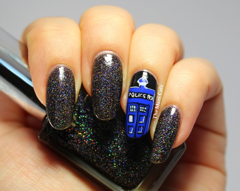 The Mani Caf Doctor Who 50th Anniversary Nail Art Freehand Tardis