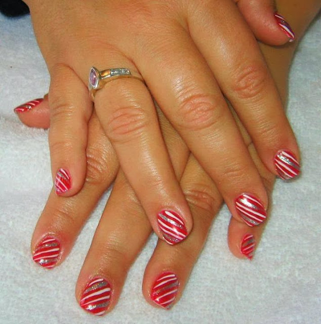 Acrylic-Nails-Nail-Art-Xmas-Salon-Gel-Nails-Polish-LED-Polish-LED-Nails-Artificial-Nails-Pink-Nails-a-mini-manicure-then-LED-polish-in-ravished-red-with-silver-and-white-candy-striping-to-hint-at-Xmas-nail-art-French-manicure-pedicure
