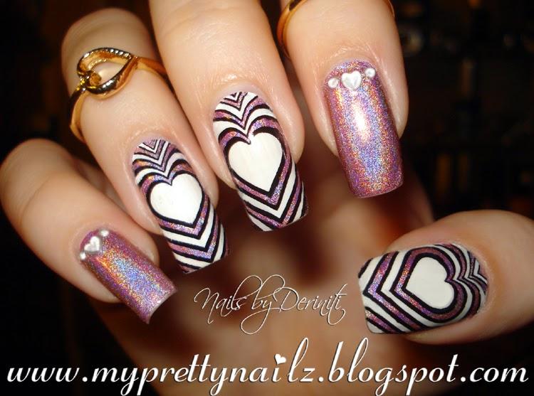 My Pretty Nailz Hypnotizing Holographic Hearts Valentines Day Diy