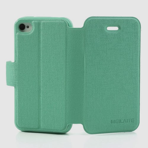 Oracle Grain Wallet Leather Case Cover with Stand for iPhone 4 4s - Baby Green